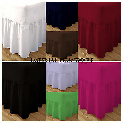 Plain Dyed Fitted Valance Sheets Polyester Bed Sheet Single Double & King Sizes