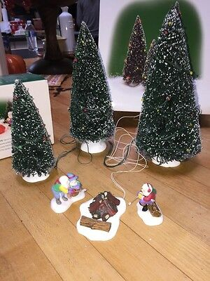 Department 56 North pole Villlage Around The Campfire AND 3 Lighted Trees