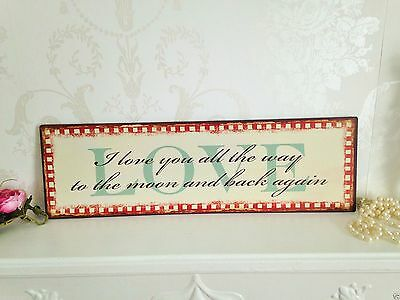 I Love You To The Moon Sign Vintage Retro Wall Art Shabby Chic Metal Plaque