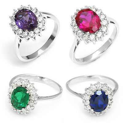 Sapphire Ruby Emerald Alexandrite Engagement Ring Solid 925 Sterling Silver