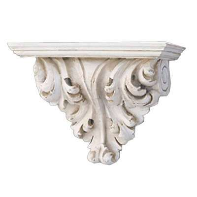 Hickory Manor Leaf Scroll Bracket/Old World White - 6636OWW