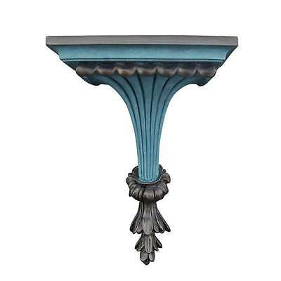 Hickory Manor Fluted Leaf Bracket/Aged Blue Gold - 6722ABG