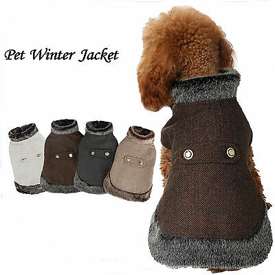 Pet Dog Cat  Winter Jacket Fur Collar Design Dog Warm Coat Puppy Cat Clothes