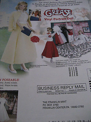 Franklin Mint Sandy GREASE Doll  Ad/Advertisement ONLY Dbl. Sided/Olivia Newton