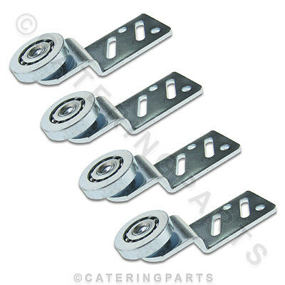 4 x RO02 ANGLED SLIDING HANGING DOOR RUNNERS / STEEL ROLLER BEARINGS / HANGERS