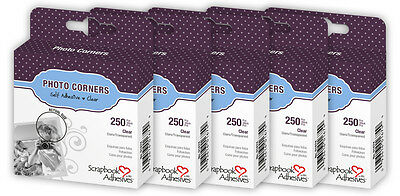 "BULK 5 of 3L Scrapbook Adhesives Photo Mounting Corners Clear 3/8"" 10mm 250/box"