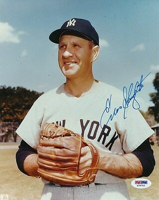 Enos Slaughter Yankees Signed 8x10 Photo Autograph Auto PSA/DNA X76702