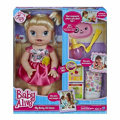 Baby Alive My Baby All Gone Doll Blonde Wets Diaper Talking Food and Bottle