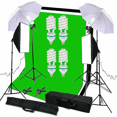 540W Studio Continuous Softbox Umbrella Lighting Kit Backdrop Light Stand Set