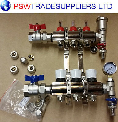 underfloor heating manifold 3 port .Pipes conectors size 16mm / 15mm