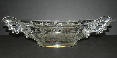 "Fostoria Glass Co 10"" Inch Handled Bowl ~ Chintz Etched Pattern ~ FAST Shipping"