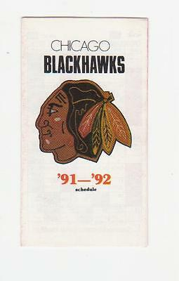 1991-92 Chicago Black Hawks Pocket Schedule Mint (A203)