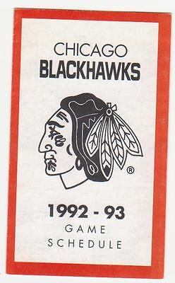 1992-93 Chicago Black Hawks Pocket ScheduleMint (A204)