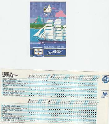 1984 Quebec Les Grand Voiliers Pocket Schedule Mint (A227)