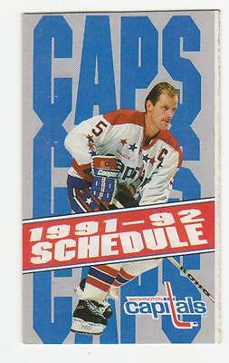 1991-92 Washington Capitals Pocket Schedule Mint (A217)