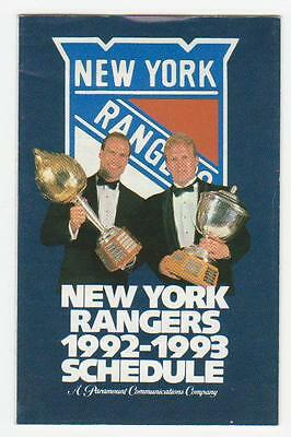 1992-93 New-York Rangers Pocket Schedule Mint (A209)