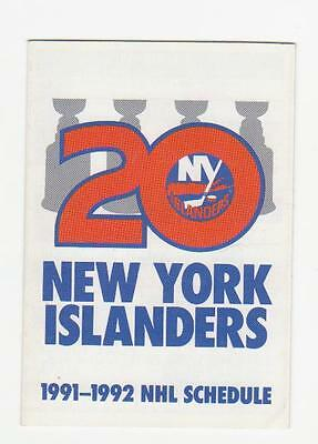 1991-92 New-York Islanders Pocket Schedule Mint (A213)
