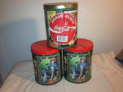 3 COCA COLA COKE JIGSAW PUZZLES IN CANS