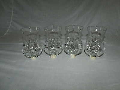 4 TALL CLEAR GLASS DIAMOND PATTERN VTG HOME INTERIOR VOTIVE CUP CANDLE HOLDERS