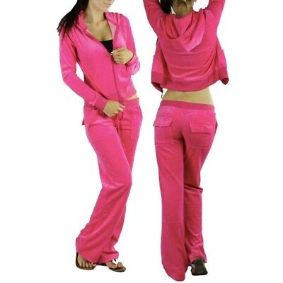 New Women Velour Hoodie Track suit Jacket Sweat Pants Set Sports Yoga Gym