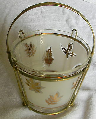 Vintage Frosted Gold Leaf  Ice Bucket with Caddy