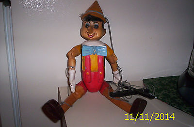 Vintage Pinocchio Hand-painted Wooden Puppet