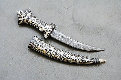 vintage Indo Persian islamic Silver Damascened jambiya letter opener  Dagger