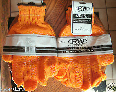 9 Pairs Total RUGGED WEAR Tough Work Gloves String Knit with PVC Ribbing NEW