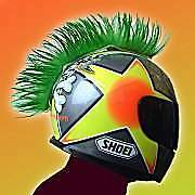 Hairy Rs Motorcycle Ski Helmet stick-on suction Mohican Mohawk green or pink