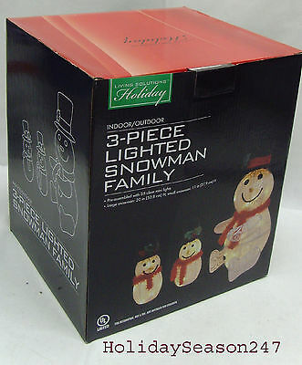 3 Piece Lighted Swirling Tinsel Snowman Family Christmas Holiday Yard Decor Prop