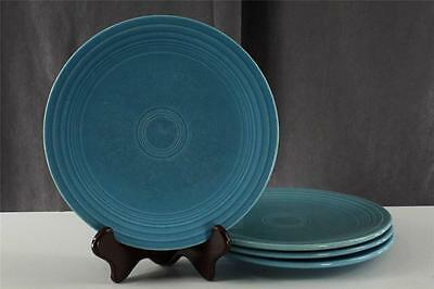 """Vintage Pottery Homer Laughlin Fiesta 4PC Turquoise Blue Lunch Plates 9-3/8"""""""