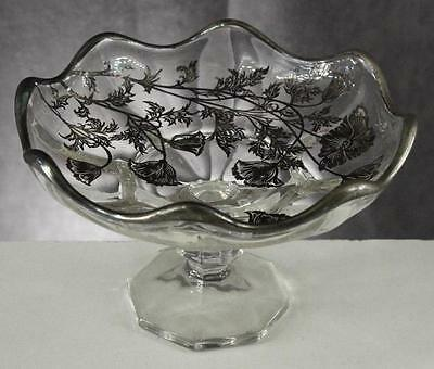 Vintage Silver City Sterling Overlay Flanders Poppy Pattern Footed Compote Bowl