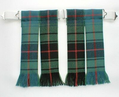 Kilt Hose Sock Flashes Davidson Ancient Tartan Worsted Wool Fringed For Kiltwear