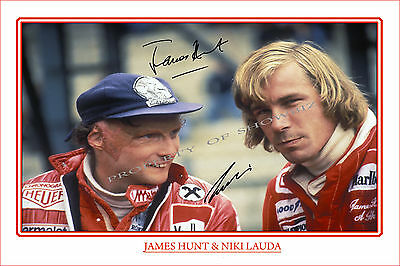 James Hunt & Niki Lauda Dual Signed Poster Photo Print - Great Collectable -Rush