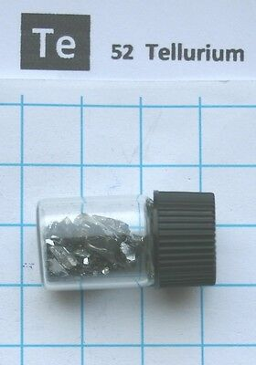 2 gram 99.999% Tellurium metalloid pieces in glass vial element 52 sample