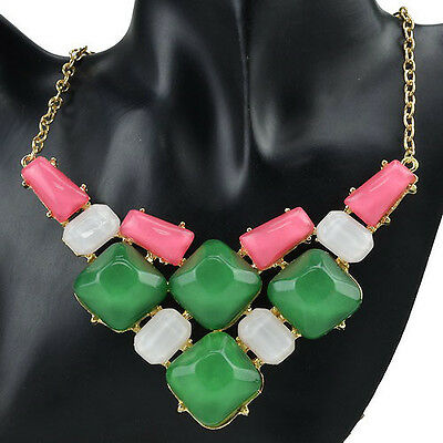 Rock Multicolor Jelly Resin Candy Gold Tone Chain Pendant Bib Necklace RC174K