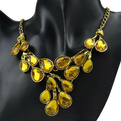 Particular Jasper Cluster Smoky Gold Plated GP Yellow Pendant Necklace RC120K