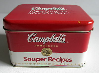 COLLECTIBLE CAMPBELL'S SOUPER RECIPES TIN CONTAINER