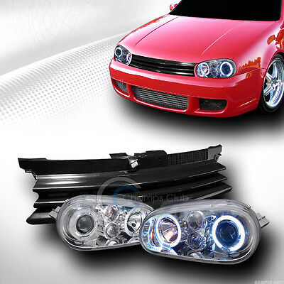 CHROME HALO PROJECTOR HEAD LIGHTS+FRONT HOOD GRILL GRILLE ABS 1999-2005 GOLF MK4
