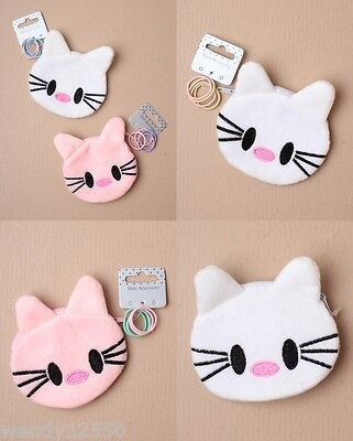 Pack Of 6 Cat Face Purses With 4 Small Elastics, Pink, White, Girl : Sp-5334 Pk6