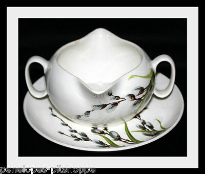 WS George Pussy Willow Gravy Boat with Underplate Vintage Unmarked