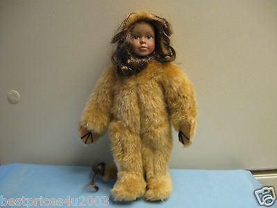 "WIZARD OF OZ 10"" COWARDLY LION DOLL WITH PORCELAIN FACE BY SEYMOUR MANN"