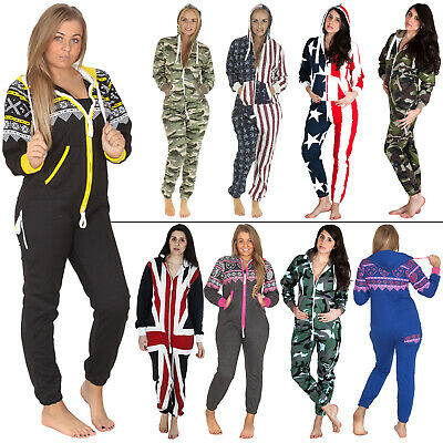Womens Mens Adult Ladies All In One Fleece Jumpsuit Aztec Camo Camouflage USA XL