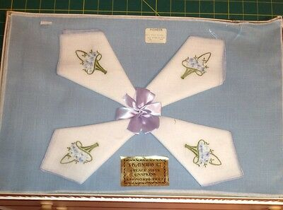 Vintage Pioneer Rayon Light Blue & White Luncheon Set 4 PlaceMats 4 Napkins