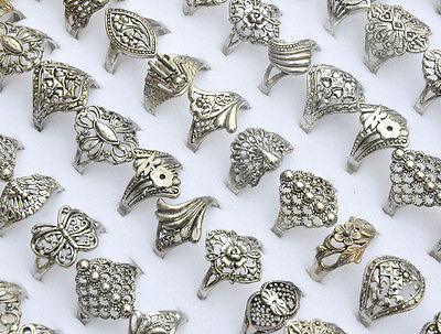 30pcs Wholesale Jewelry Mixed lots Tibet Silver Rings Vintage Style Party Gift