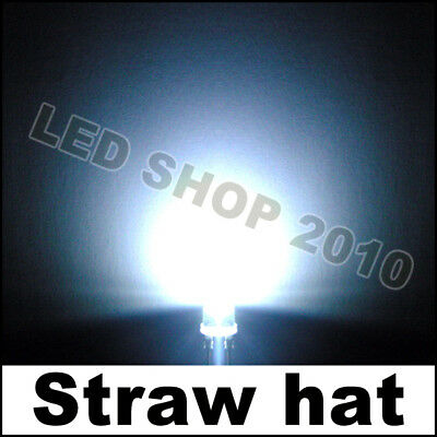1000 X 5mm 2pin Straw hat White Wide Angle Super-Bright Light LED