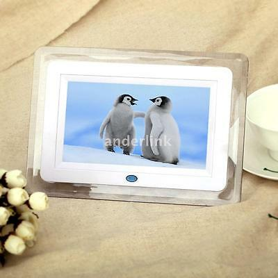 "7"" HD TFT-LCD Digital Photo Picture Frame Alarm Clock MP3 MP4 Movie Player US"