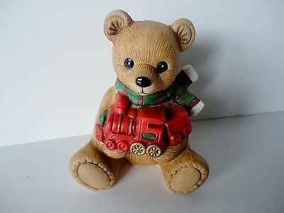 NEW Porcelain HOMCO Home Interior TEDDY BEAR w/ TRAIN Figurine Holiday #5560 NWT