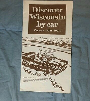 """Discover Wisconsin By Car"" Booklet Pamphlet - Various 1 Day Tours"