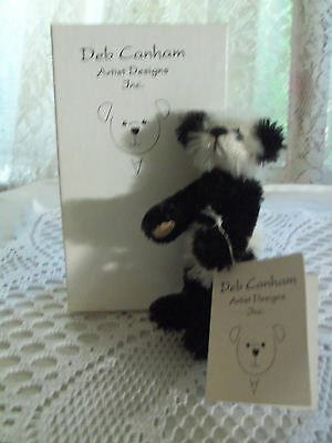"""DEB CANHAM 3 1/2"""" MOHAIR PANDA SUEDE PAWS LTD #227 OF 5000 CHRISTMAS HANDCRAFTED"""